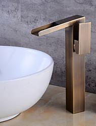 abordables -Robinet lavabo - Jet pluie Cuivre antique Set de centre Mitigeur un trou