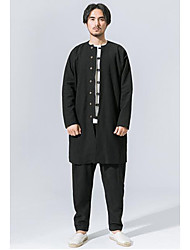 Men's To-Go Chinoiserie Winter Fall Trench coat,Solid Stand Long Sleeves Long Linen