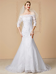 Mermaid / Trumpet Off-the-shoulder Court Train Lace Tulle Wedding Dress with Beading Appliques by LAN TING BRIDE®