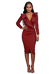 Women's Party Club Simple Bodycon Dress,Solid V Neck Midi Sleeveless Cotton Polyester All Season Fall High Waist Inelastic Opaque