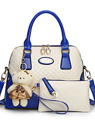 preiswerte -Damen Taschen PU Bag Set 2 Stück Geldbörse Set Reißverschluss Blau / Rosa / Fuchsia