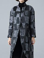 cheap -Women's Regular Down Coat,Street chic Daily Check-Polyester Long Sleeve