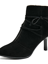cheap -Women's Shoes PU Summer Comfort Boots Kitten Heel Pointed Toe Booties/Ankle Boots Zipper for Casual Black Brown