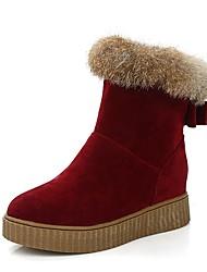 preiswerte -Damen Schuhe Kunstleder Winter Schneestiefel Stiefel Runde Zehe Für Normal Schwarz Rot Mandelfarben