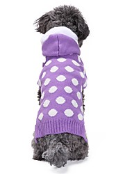 cheap -Cat Dog Coat Sweater Hoodie Dog Clothes Casual/Daily Keep Warm New Year's Polka Dot Purple Costume For Pets