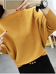 Women's Daily Wear Regular Pullover,Solid Round Neck Long Sleeves Acrylic Fall Thick Stretchy