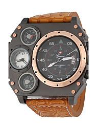 abordables -JUBAOLI Hombre Cuarzo Reloj de Pulsera Chino Gran venta Piel Banda Encanto Reloj creativo único Negro Caqui