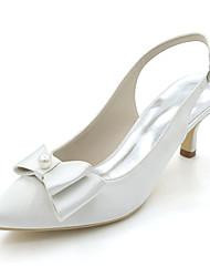preiswerte -Damen Schuhe Satin Frühling Sommer Pumps Hochzeit Schuhe Stöckelabsatz Spitze Zehe Schleife Imitationsperle Für Hochzeit Party &