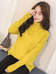 cheap -Women's Daily 13.39inch(34cm) Pullover,Solid Turtleneck Long Sleeves Acrylic Winter Fall Thick strenchy