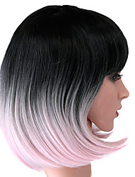 economico -Donna Parrucche sintetiche Senza tappo Lisci T-L.Pink Capelli schiariti Taglio medio corto costumi parrucche