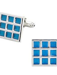 baratos -Corte quadrado Forma quadrada Azul Botões de Punho Cobre Romântico Casamento Homens Jóias de fantasia