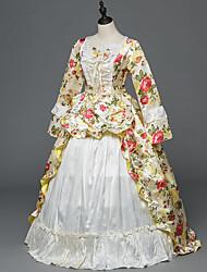Victorien Rococo Costume Féminin Adulte Costume de Soirée Bal Masqué Beige Vintage Cosplay Satin Stretch Manches Longues Longueur Sol