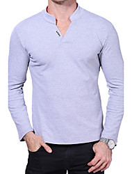 cheap -Men's Daily Plus Size Sexy Autumn Spring Polo,Letter Stand Long Sleeves Cotton Spandex Medium