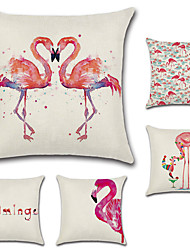 cheap -5 pcs Cotton/Linen Flamingo Fashion Novelty Modern High Quality New Arrival Cool Tropical Baroque Neoclassical Retro
