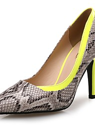 cheap -Women's Shoes Synthetic Microfiber PU Spring Fall Comfort Heels Stiletto Heel Pointed Toe Animal Print for Wedding Party & Evening Yellow