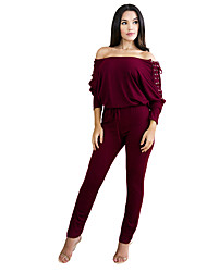 Women's Party Athleisure Casual Solid Boat Neck Jumpsuits