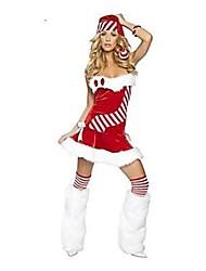 baratos -Férias Mrs.Claus Papai Noel Roupa Mulheres Natal Festival / Celebração Trajes da Noite das Bruxas Vermelho Sólido Natal Férias