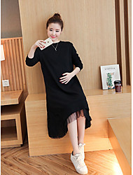 Women's Maternity To-Go Casual/Daily Sweatshirt Solid Round Neck Micro-elastic Cotton Long Sleeves Spring/Fall Winter