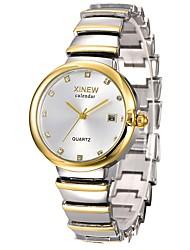 abordables -Mujer Reloj de Pulsera Chino Calendario / Cronógrafo / Resistente al Agua Acero Inoxidable Banda Casual / Moda / Elegante Plata / Dorado / Oro Rosa / Un año