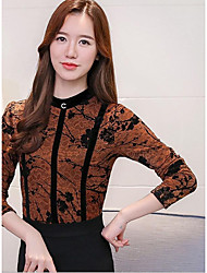 Women's Daily Wear Vintage Sophisticated Shirt,Solid Embroidery Stand Long Sleeves Cotton