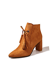 cheap -Women's Shoes Nubuck leather Fall Winter Comfort Combat Boots Boots Chunky Heel Pointed Toe Booties/Ankle Boots Tassel(s) Zipper For