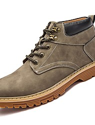 Men's Shoes PU Spring Fall Comfort Combat Boots Boots Booties/Ankle Boots For Casual Khaki Yellow Gray