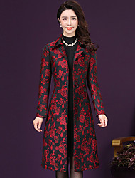 cheap -Women's Sophisticated Plus Size Trench Coat Print