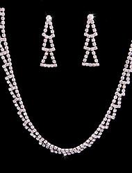 Недорогие -Жен. Набор украшений Свадебные комплекты ювелирных изделий Простой Мода Свадьба Для вечеринок Серебрянное покрытие 1 ожерелье Серьги