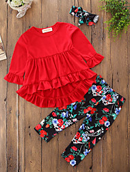 cheap -Girls' Solid Floral Geometric Clothing Set, Cotton Polyester Fall Spring, Fall, Winter, Summer Long Sleeves Active Street chic Red