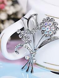 economico -Per donna Spille Strass Semplice Elegant Strass Lega A forma di fiore Gioielli Per Cerimonia