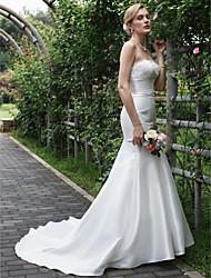 baratos -Sereia Sem Alças Cauda Escova Cetim Cordão com cordão Vestidos de noiva personalizados com Apliques Renda de LAN TING BRIDE®