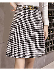 Women's Holiday Above Knee Skirts A Line Color Block Spring Winter