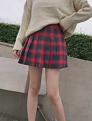 cheap -Women's School Valentine Short Length Skirts Skirt Plaid/Check Spring/Fall