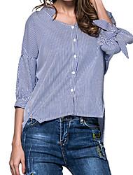 Недорогие -Для женщин На выход На каждый день Осень Весна Рубашка V-образный вырез,Уличный стиль Полоски Хлопок,Средняя