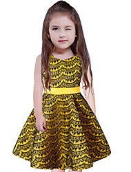 cheap -Girl's Going out Casual/Daily Solid Print Dress,Cotton Polyester Spring, Fall, Winter, Summer All Seasons Sleeveless Simple Cute Princess