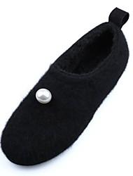 Feminino Sapatos Flanelado Inverno Conforto Mocassins e Slip-Ons Ponta Redonda Para Preto Amêndoa