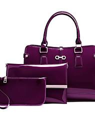 preiswerte -Damen Taschen PU Bag Set 3 Stück Geldbörse Set Reißverschluss für Normal Ganzjährig Blau Schwarz Purpur Wein