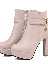 cheap -Women's Shoes Leatherette Fall Winter Fashion Boots Boots Round Toe Booties/Ankle Boots Rhinestone Buckle For Casual Dress Blushing Pink