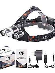 cheap -Headlamps Bike Lights Headlight LED 4000,5000,5300 lm 4 Mode 3XCree XM-L T6 Cree XM-L U2 Rechargeable Waterproof for Camping/Hiking--2x18650