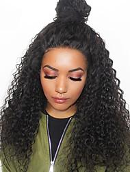 Недорогие -Remy 360 Лобовой Парик Малазийские волосы Свободные волны / Крупные кудри Парик С пушком 180% Необработанные Жен. Длинные Парики из натуральных волос на кружевной основе