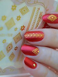 abordables -1 Punk Pegatina de uñas Dorado 2 # Nail Art Design Decoration