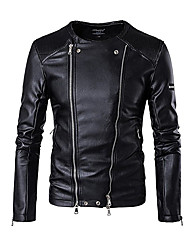 cheap -Men's Daily Sports Sexy Winter Fall Leather Jacket,Solid Stand Long Sleeve Short Lambskin