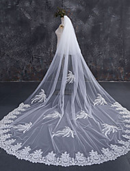 cheap -Two-tier Lace Applique Edge Bridal Wedding Wedding Veil Chapel Veils Cathedral Veils 53 Lace Lace Tulle