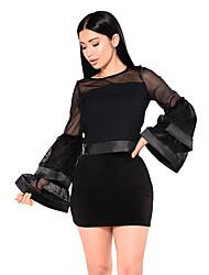 preiswerte -Damen Kurz T-shirt - Solide Hohe Taillenlinie Rock