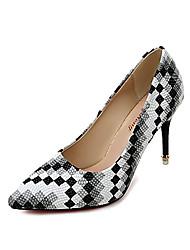 economico -Per donna Scarpe PU (Poliuretano) Primavera Comoda Tacchi Footing A stiletto Appuntite A quadri Nero / Rosso / Blu