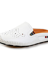 cheap -Men's Shoes Cowhide Winter Fall Comfort Loafers & Slip-Ons for Casual White Black Orange