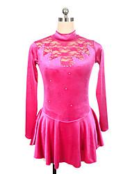 abordables -Robe de Patinage Artistique Femme / Fille Patinage Robes Fuchsia Spandex Non Elastique Utilisation / Exercice Tenue de Patinage Couleur