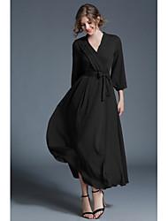 Недорогие -Жен. Богемный С летящей юбкой Платье - Однотонный V-образный вырез Макси