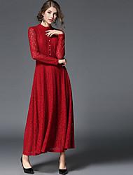 Feminino Bainha Vestido,Diário Para Noite Casual Sólido Decote Redondo Médio Manga Curta Poliéster Inverno Outono Cintura Alta