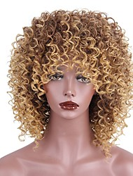 cheap -Synthetic Wig Kinky Curly With Bangs African American Wig Brown Women's Capless Natural Wigs Short Synthetic Hair